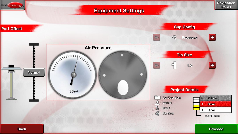VR Paint Training Equipment Settings